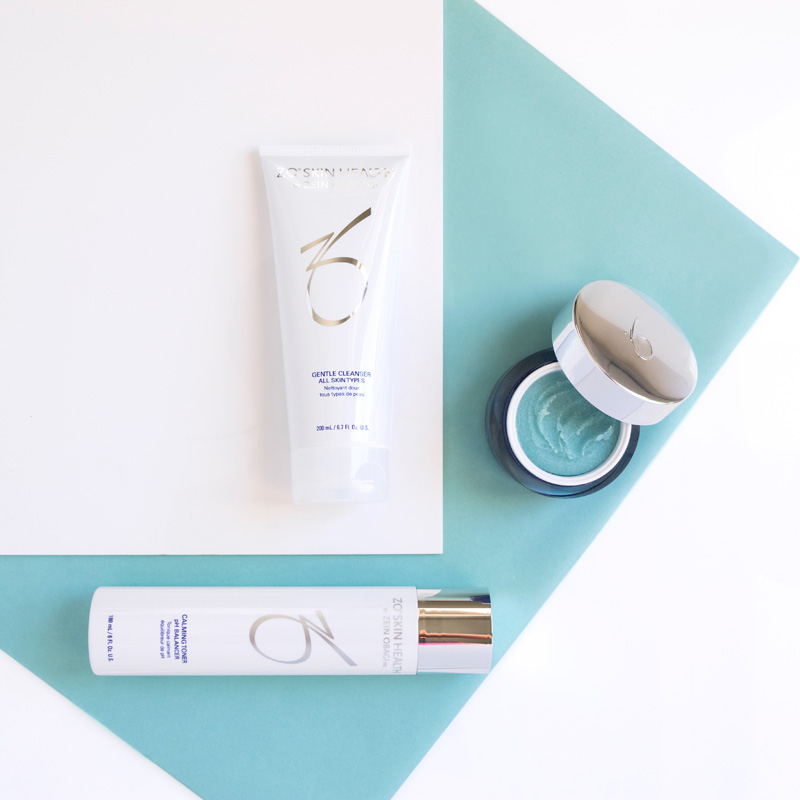 ZO skin health gentle cleanser exfoliating polish calming toner